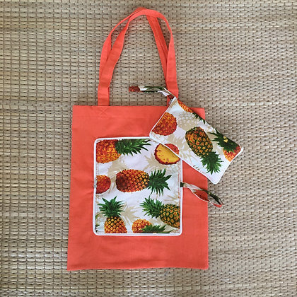 Pineapple Ananas Fruitarian Eco Friendly Reusable Folding Tote Bag