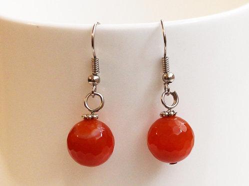 Sweetheart Earrings- Genuine Agate Sphere