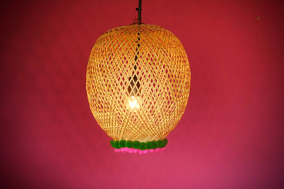 Bamboogie Basket Lampshade Sphere Small- Green Fuchsia Pom Pom