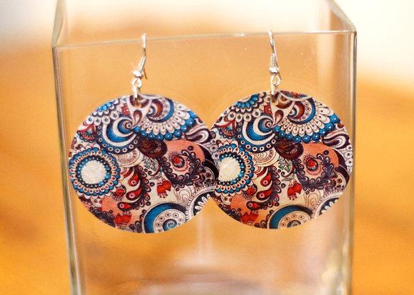 Pearly Queen Earrings- Cosmic Blue Swirl