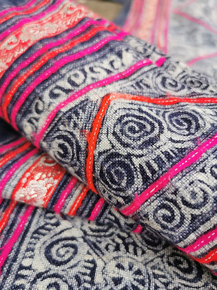Rare Vintage Hmong Wax Batik Organic Hemp Indigo, Applique Textile Panel 7.9m