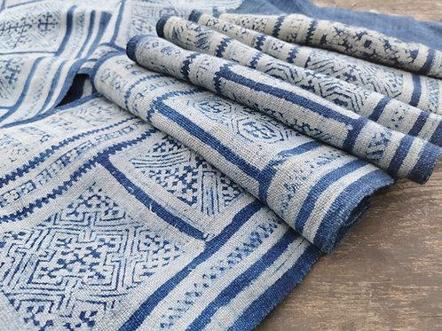 #10 Rare Vintage Hmong Wax Batik Organic Hemp Indigo Textile Panel 5.1m/ 5.5yard