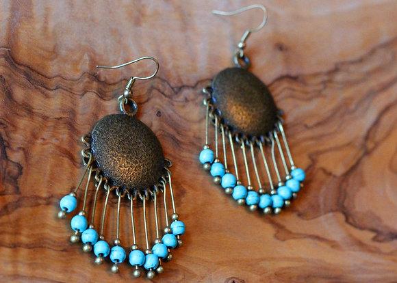 Harper Tassel Earrings- Turquoise Beads Bronze