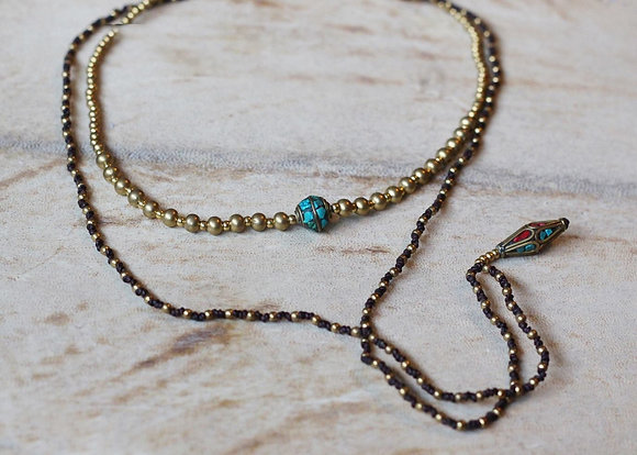 Nepalese Pendulum Necklace- Turquoise, Red, Black & Brass