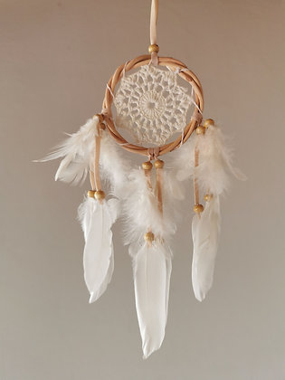 White Crochet Angel Feather Dreamcatcher- Small