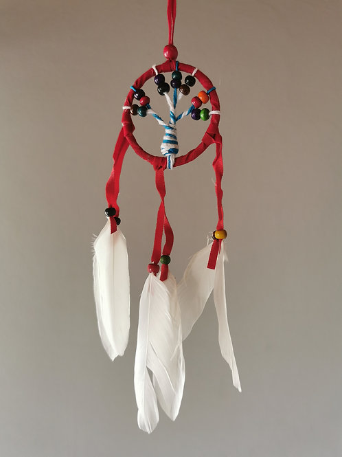 Mini Tree Red B Macrame Feather Dreamcatcher