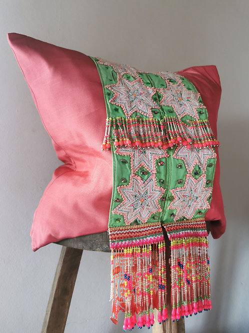 Pretty Pink Hmong Hill Tribe Embroidered Tassel Cushion Cover