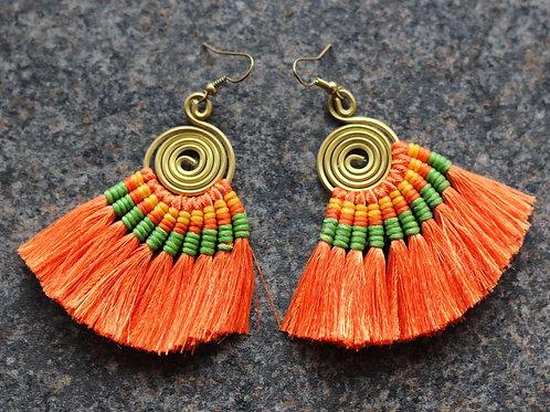Tassel Dazzle Tropical Tribal Earrings- Orange and Brass