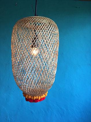 Bamboogie Basket Lampshade Oblong Small- Sunshine Scarlet Pom Pom