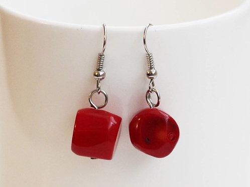 Sweetheart Earrings- Genuine Ruby Red Coral Stones