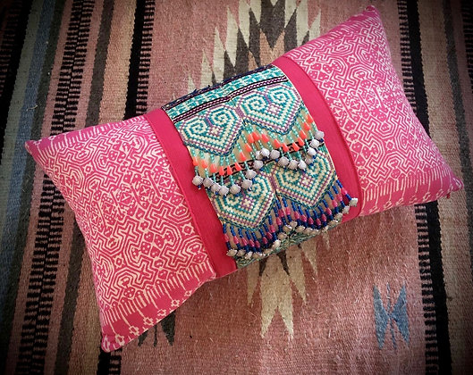 Pretty Pink Hmong Cushion Cover- FREE POST