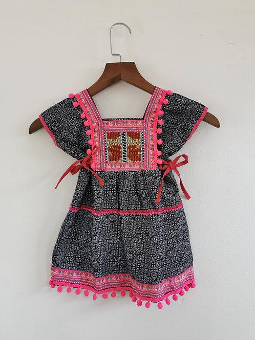 Hmong Batik Pom Pom Boho Girls Dress Age 2/3