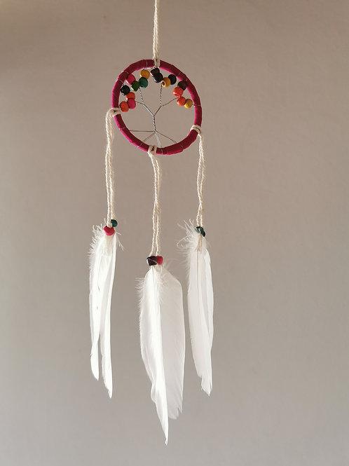 Mini Tree Pink Macrame Feather Dreamcatcher