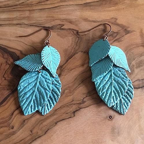 Layered Leaf Earrings - Faux Oxidised Copper