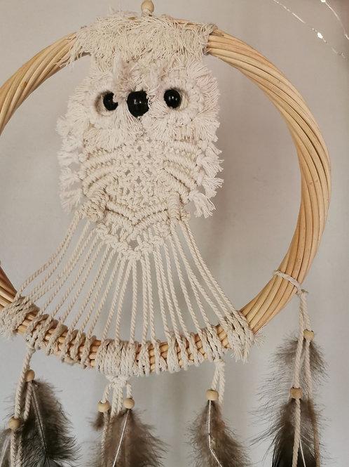 Snowy Owl Macrame Dreamcatcher Wall Hanging