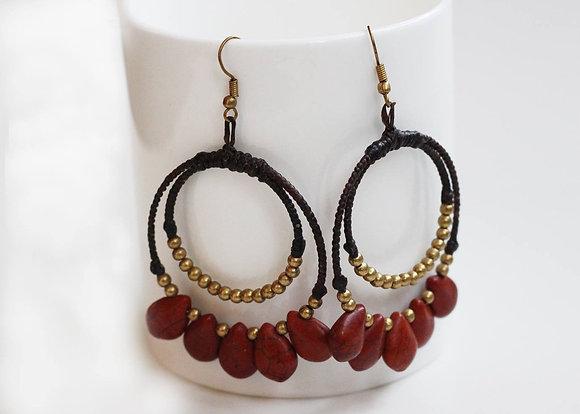 Hooper Teardrop Earrings- Marron and Brass