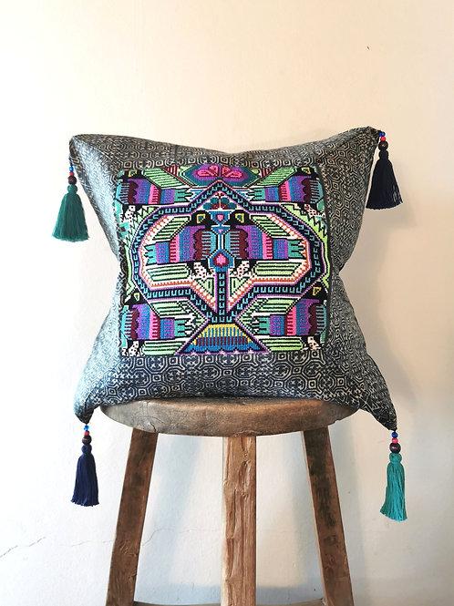 Love Birds Hmong Embroidered Indigo Cushion Cover