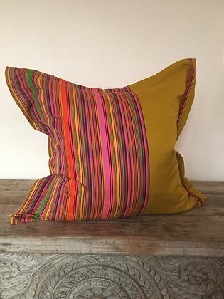 Ravioli Envelope Cushion Cover- Ochre and Pink Candy Stripes