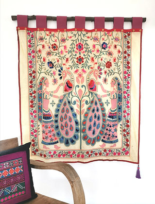 Peacock Garden Embroidered Wall Hanging Tapestry- FREE SHIPPING
