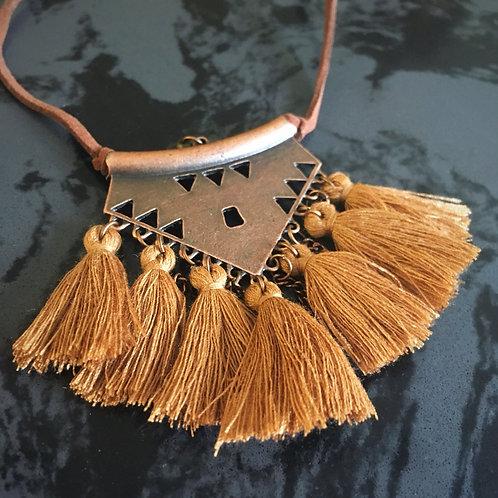 Bohemian Dream Tassel Necklace- Bronzed Golden Amber