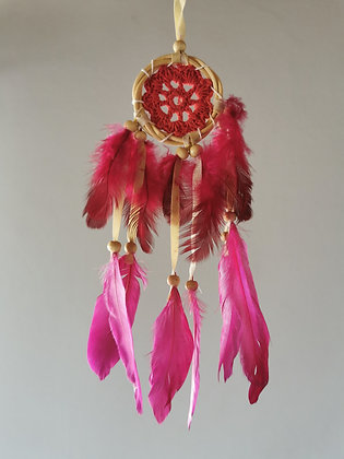 Mini Pink Macrame Feather Dreamcatcher