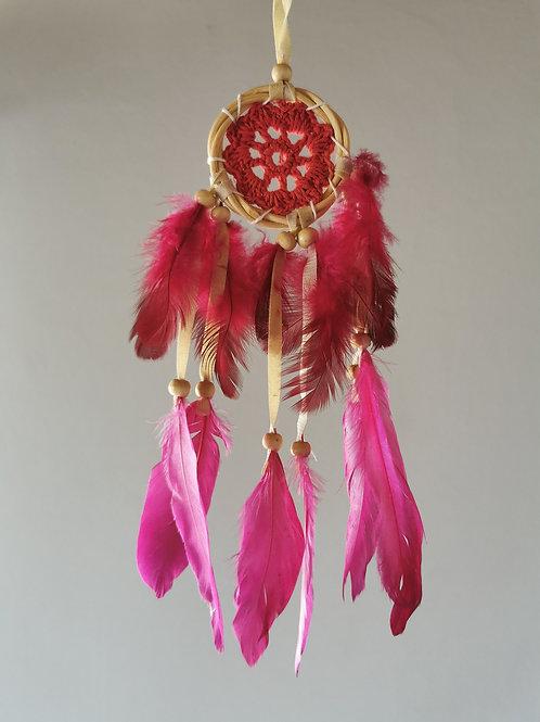 Mini Pink Macrame Feather Dreamcatcher
