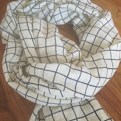 Checker Scarf-  Navy & White