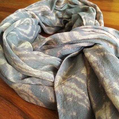 Lanna Batik Natural Dyed Cotton Scarf- Grey Apricot