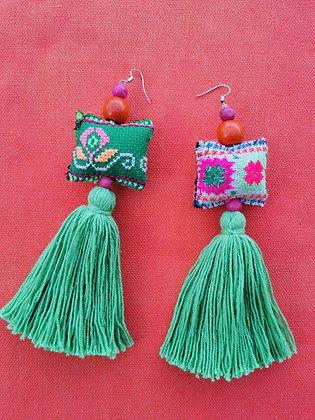 Hmong Mini Pillow Tassel Earrings- Fern Green