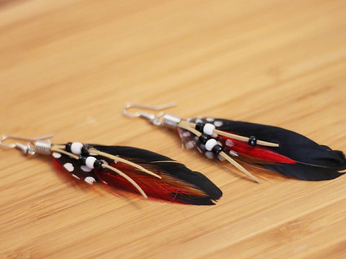 Bird of Paradise Earrings- Red and Black
