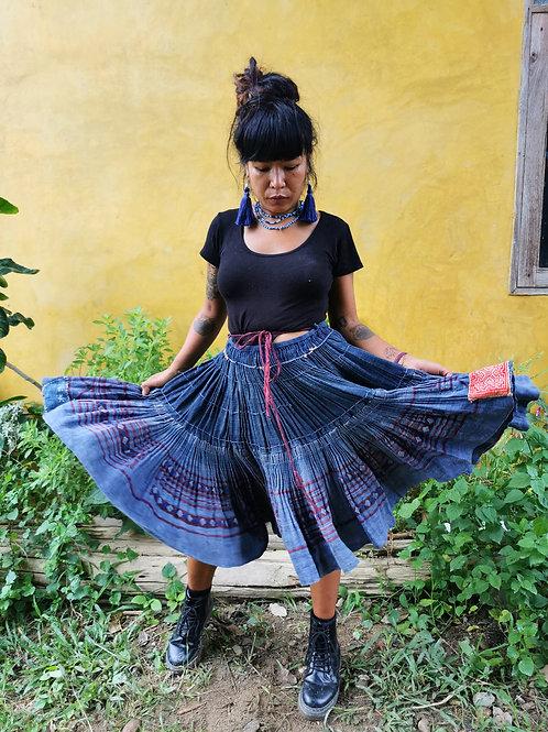 Demi Vintage Hmong Hemp Pleated Skirt- Indigo FREE DHL SHIPPING