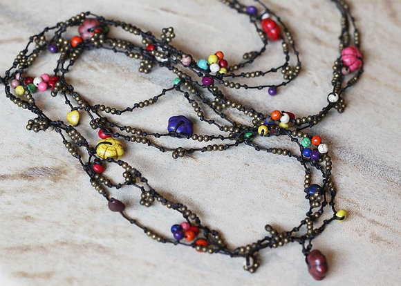Hippie Chic Necklace- Beaded Long Length