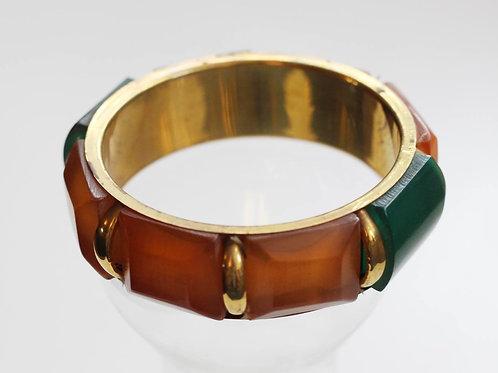 Savannah Bangle- Golden Amber, Green and Brass