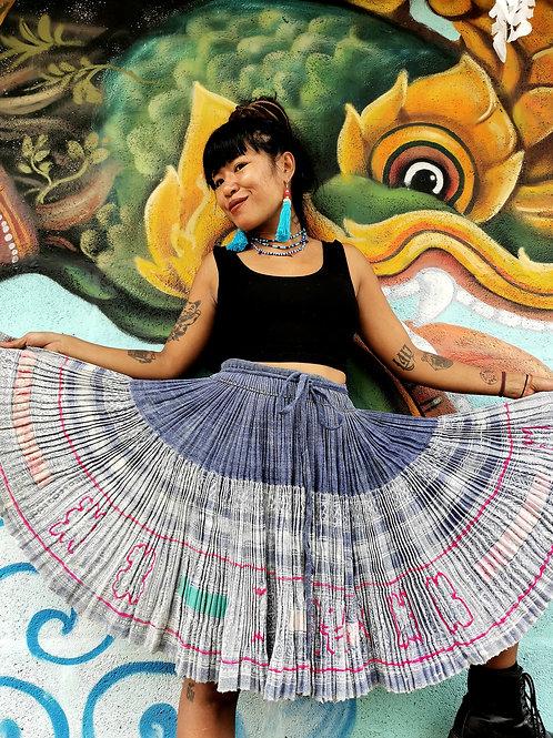 Bess Vintage Hmong Hemp Pleated Skirt- Indigo FREE DHL SHIPPING