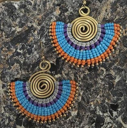 Rainbow Fan Brass Swirl Macrame Earrings- Blue and Orange