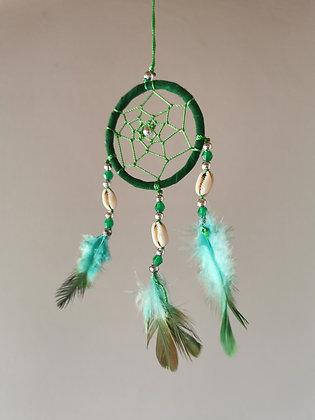 Cowrie Shell Emerald Macrame Feather Dreamcatcher