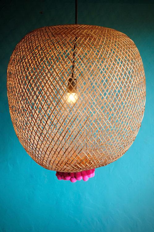 Bamboogie Basket Lampshade Sphere Large- Fuchsia Merlot Pom Pom