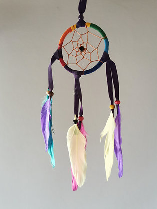 Rainbow Black Drop Feather Dreamcatcher