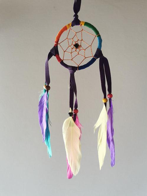 Rainbow Black Drop Feather Dreamcatcher