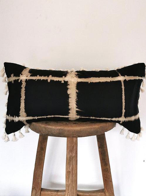 """X Ray Tassel Tribal Batik Lumbar Pillow 24 x 12"""""""