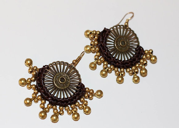 Wheel of Fortune Earrings- Brass Bells and Beads
