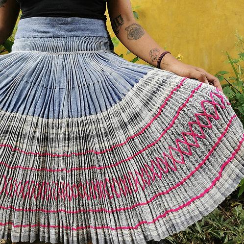 Daisy Vintage Hmong Hemp Pleated Skirt- Indigo FREE DHL SHIPPING