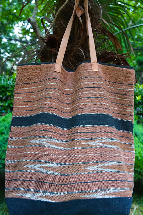 Organic Cotton Woven Hill Tribe Bag with Leather Strap