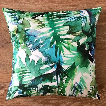 Watercolour Leaf Cushion Cover- Tropical Teal
