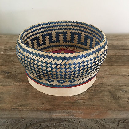 Madagascar Rattan Woven Basket- Blue and Natural