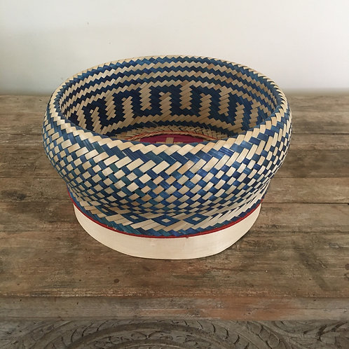Madagascar Rattan Woven Basket- Blue and Natural