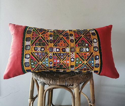orange indian pillow
