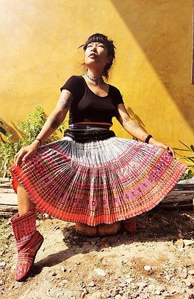 Tulipa Vintage Flower Hmong Pink Pleated Skirt- Indigo Hemp Cotton
