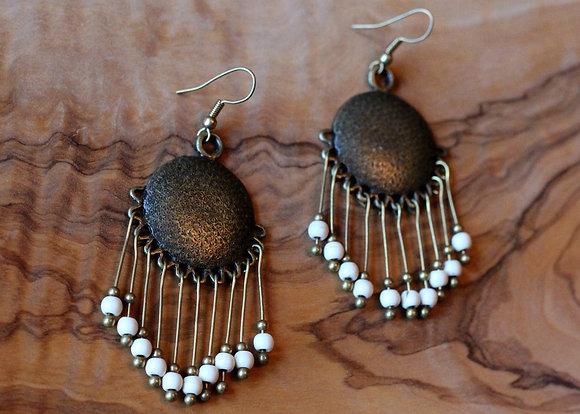 Harper Tassel Earrings- Bone White & Bronze