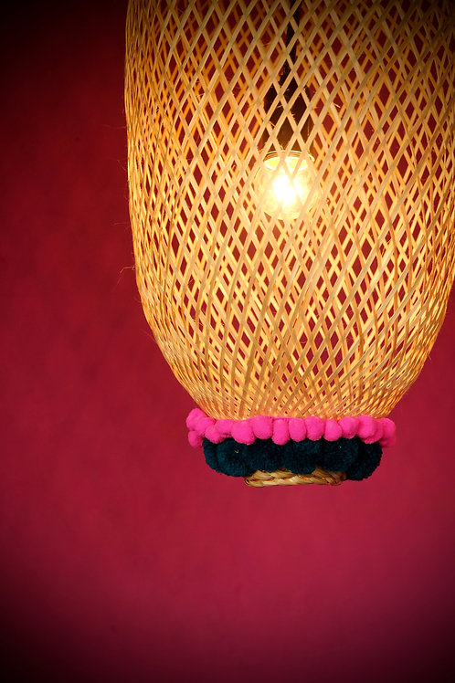 Bamboogie Basket Lampshade Oblong Small- Fuchsia Teal Pom Pom